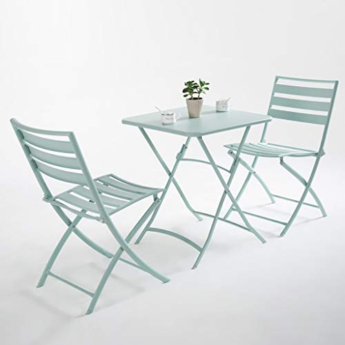 ZWJLIZI Folding Table/chair, Portable Wrought Iron Balcony Square/round Leisure Table And Chair (green), Nordic Ins Style Photo Props (Color : 1 table and 2 chairs (square table))
