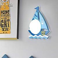 ボート壁ランプベッドサイド児童室のベッドアイルバルコニーベッドルーム少年少女漫画クリエイティブLEDランプ39 * 28センチメートルブルー Sebktwo