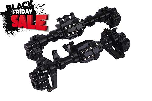 RZXYL Aluminum Alloy Front and Rear Axle Housing Set for 1/10 Traxxas TRX4 RC Crawler Car, Replace Original Plastic Axles Housing (Black)