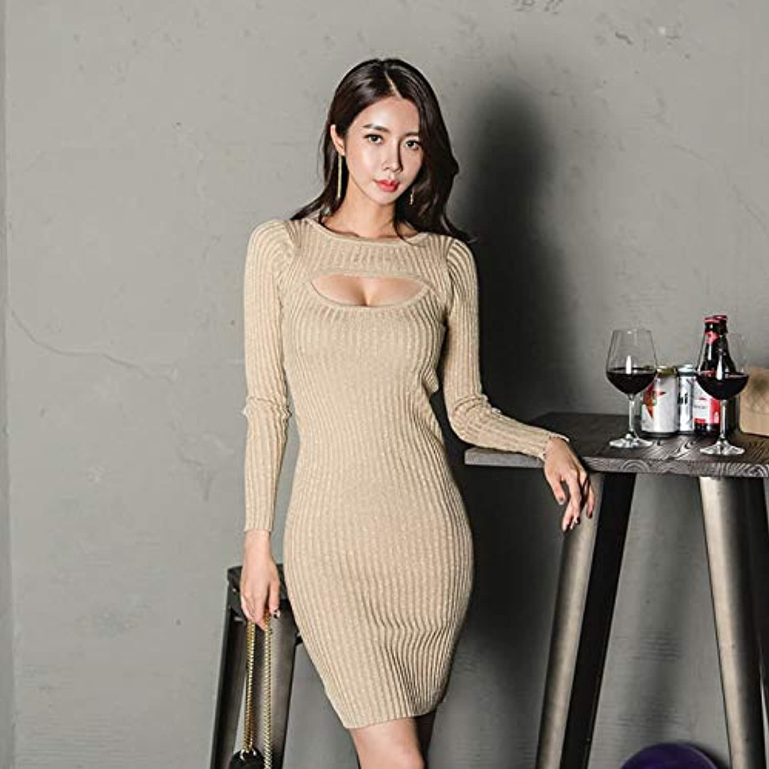 Cxlyq Dresses HollowOut Mini Women Sweater Dress Casual ONeck Skinny Hip Package Female Vestidos Autumn Elastic Knitted Dress