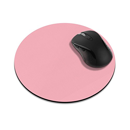 Non-Slip Round Mousepad, FINCIBO Solid Light Pink Mouse Pad for Home, Office and Gaming Desk
