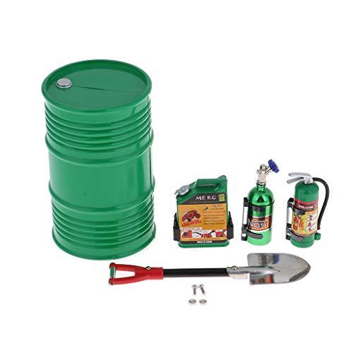 chiwanji Modelo de Tanque de Combustible de Extintor de Incendios Y Tambor de Aceite para 1:10 RC Rock SCX10 D90 - Verde