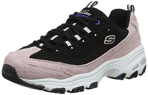 Skechers D'Lites-Moon View, Zapatillas Mujer, Negro (BKPK Black & Pink Leather/Black Mesh/Blue Trim), 39 EU
