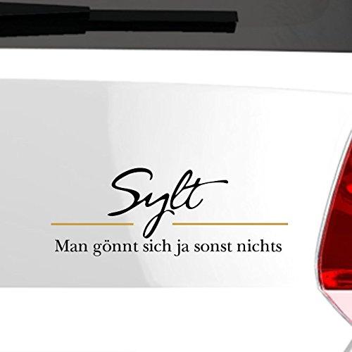 eDesign24 Insel Sylt Schriftzug Unser bisschen Luxus Autoaufkleber Autosticker Aufkleber Sticker - Erhältlich in mehr als 30 Farben 4 x 10 cm silber silber 4 x 10 cm