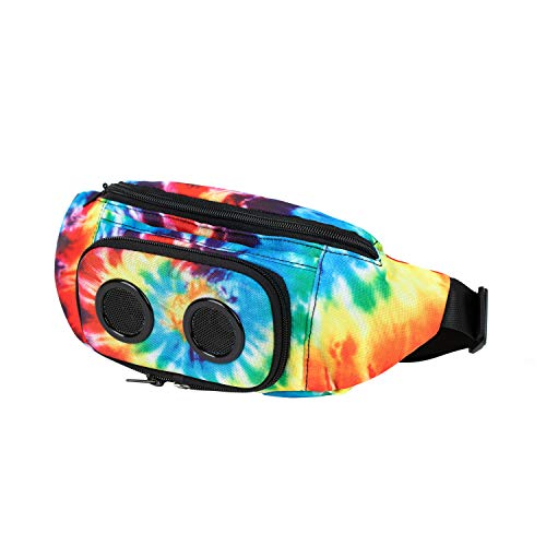 Fannypack with Speakers. Bluetooth Fanny Pack for Parties/Festivals/Raves/Beach/Boats. Rechargeable, Works with iPhone & Android. (Tie Dye, 2021 Edition)