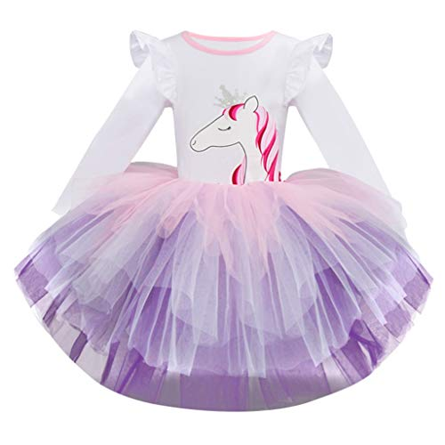 OPAKY Vestido de Tutu Princesa Unicornio Arco Iris Fiesta de cumpleaños Disfraz Bautizo para Niña Vestido Infantil Ceremonia Fiesta Bebe Niña Ropa Verano Pequeño Caballo Faldas