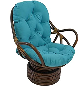 KSWD Thick Papasan Swivel Rocker Chair Cushion Needles Twill Solid Seat Cushion with Ties for Indoor Outdoor Garden Patio-48x24x5Inch Blue