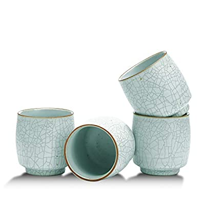 TEANAGOO Pottery Chinese Tea Cups Set, 5.8 oz/175 ml, Ruware, White with black seam, TC09, 4 pcs/Box Chinese Ceramic Tea Cups, Korean Tea Cup Set, Asian Tea Cups No Handles