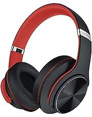 DOQAUS Trådlösa Hörlurar Over Ear,52 Timmars Speltid Stereohörlurar Bluetooth med 3 EQ-lägen, Mjuka minnesprotein öronplattor, Vikbara Trådlösa Hörlurar med Mikrofon för Smartphone PC-surfplatta(Svart-röd)