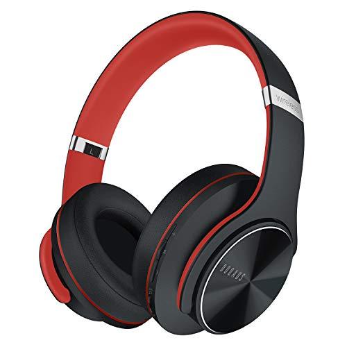 DOQAUS Auriculares Inalámbrico Diadema, [52 Hrs de Reproducir] Cascos Bluetooth con 3 Modo EQ y Micrófono Incorporado, Audifonos Bluetooth Inalámbrico para iPhone/Xiaomi/Android/laptops (Negro Rojo)