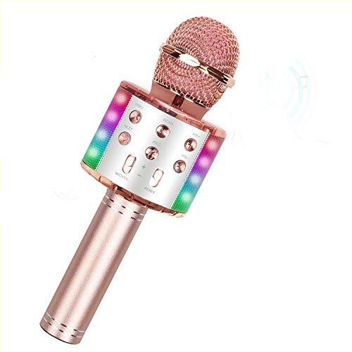 Karaoke Mikrofon mit Steuerbaren LED Leuchten, Drahtloses Bluetooth Mikrofon kinder, Tragbares 4-in-1 Handheld Microphone Maschine, Heim KTV Player mit Lautsprecher, Kompatibel mit Android/IOS/PC.