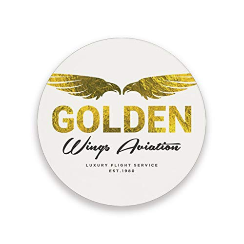FANTAZIO Gouden Vleugels Logo Cup Mat Coaster voor Wijnglas Thee Coaster met Varying Patronen Geschikt voor Soorten Mokken en Bekers 1 piece set 1