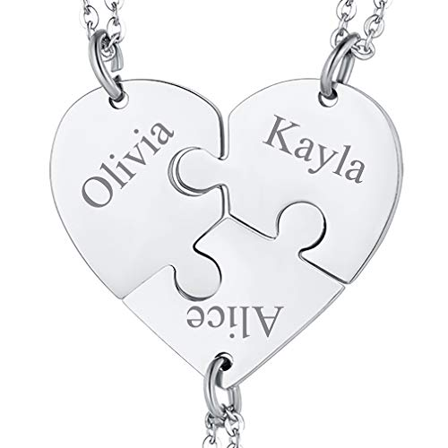 FaithHeart Personalized Custom BFF Necklace for 3, Stainless Steel Heart Puzzle Matching Pieces Pendant Neck Charms Jewelry for Family Fashion Good Friends Necklaces, Teens Girls Gifts