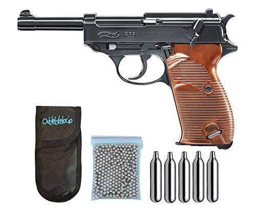 Outletdelocio.. Pistola perdigon Umarex Walther P38 Co2 4,5mm. Blowback. + Funda Portabombonas + Balines + Bombonas co2. 23054/29318/13275