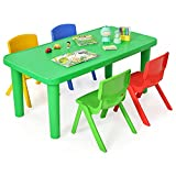 Costzon Kids Table and Chair Set, Plastic Learn and Play Activity Set, Colorful Stackable Chairs, Portable Table for School Home Play Room (Table & 4 Chairs)