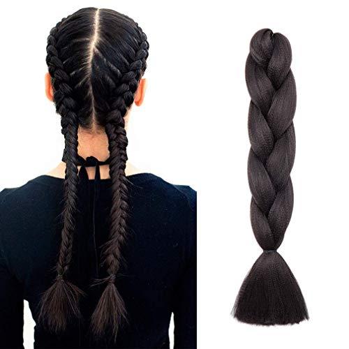 """24"""" Tresse Tressage Braiding Hair Braids Meches Extension Cheveux Synthetique 1Pcs 100g/Paquet 60CM - #1B Noir naturel"""