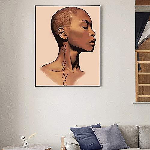 ganlanshu Cuadro En Lienzo Mujer Africana Fotos Arte de la Pared decoración para Sala de Estar carteles60x80cmPintura sin Marco