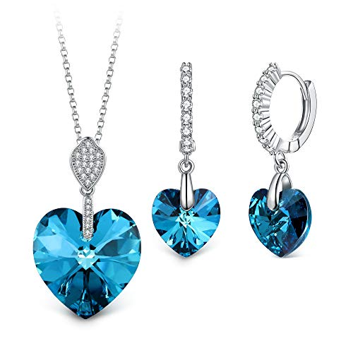 T400 Jewelers Collana con Ciondolo a Cuore e Leverback Orecchini Cristallo di Elements Parure di Gioielli Donna,45+5cm Regalo per Donna Ragazza
