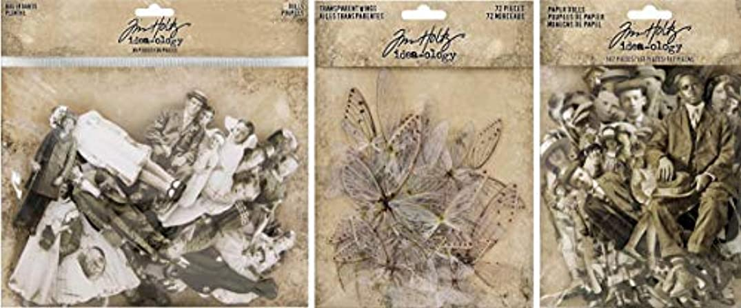 Idea-ology Tim Holtz Baseboard Dolls, Paper Dolls and Transparent Wings - 3 Item Bundle
