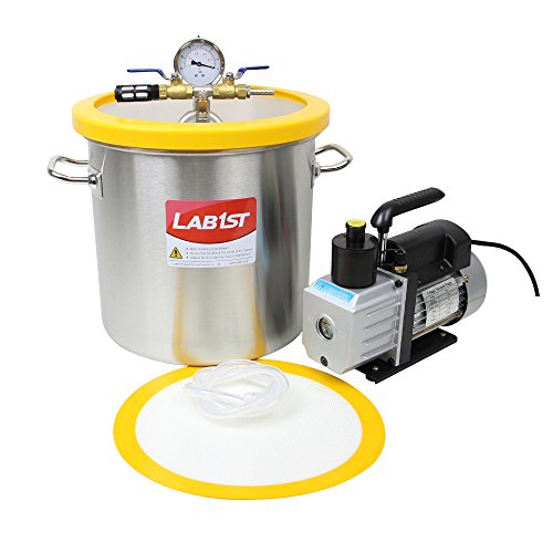 5 Gallon Vacuum Degassing Chamber Kit with 3 CFM Pump - Not for Wood Stabilizing