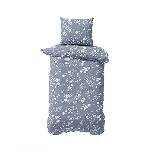 BLUE MOON Microfaser-Bettwäsche - Decke & Kissen, mit Reißverschluss - Bügelfrei, atmungsaktiv, antistatisch, pflegeleicht, für Allergiker geeignet - Deckenbezug und Kissenbezug 155 x 220 + 80 x 80 cm