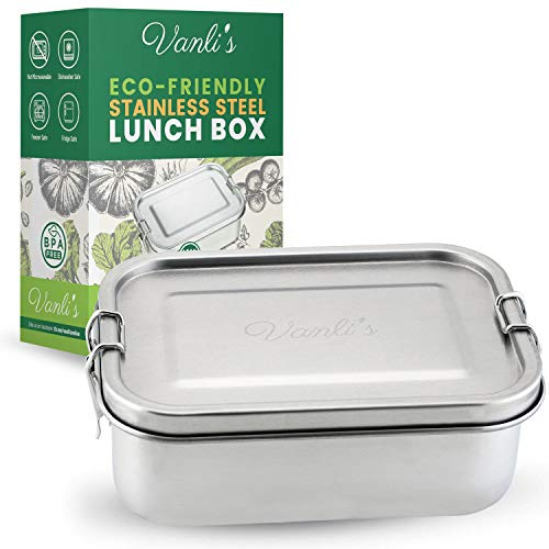 Vanli's Small Stainless Steel Lunch Containers | Metal Lunch Box For Kids And Adults | Durable Bento Box With Lockable Clips Leak Proof To Keep Food Fresh | Tiffin Food Container | 27oz