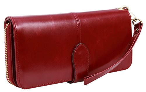 Heshe Women's Long Wallets Money Clip Card Case Holder Large Capacity Purse Clutch for Ladies with Wrist Strap (Wine)