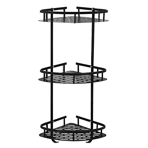 3-Tier Corner Shower Caddy Basket with Hooks No Drilling Metal Bathroom Shower Organizer and Storage Racks Black Wall Mounted Aluminum Shower Shelf for Shampoo, Soap, Razors, Etc.