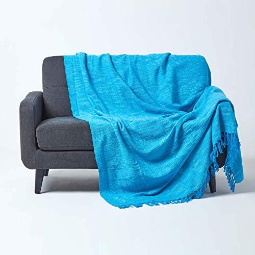 HOMESCAPES Funda de sofá Unicolor, 100% algodón, Color Azul Turquesa de la colección Nirvana 150 x 200 cm