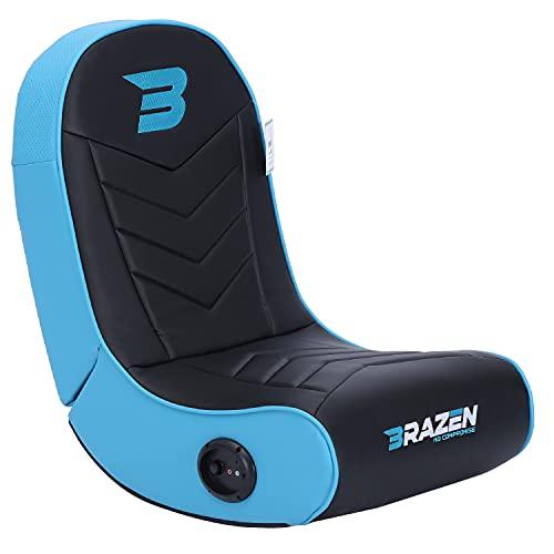 BraZen Stingray 2.0 Children Gaming Chair Foldable Floor Rocker with Speaker - Blue