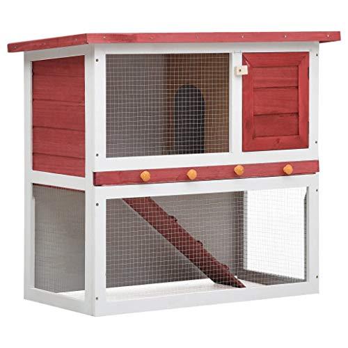 Goliraya Jaula Conejera con 1 Puerta Madera Conejera de Exterior Madera Jaula para Conejo Animales Pequeños Casa para Conejos Rojo y Blanco