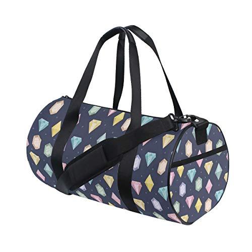 PONIKUCY Sporttasche Reisetasche,Grafische Edelsteine mit verschiedenen Formen Billionen Tropfen und Marquise Schnittmuster,Schultergurt Handgepäck für Übernachtung Reisen