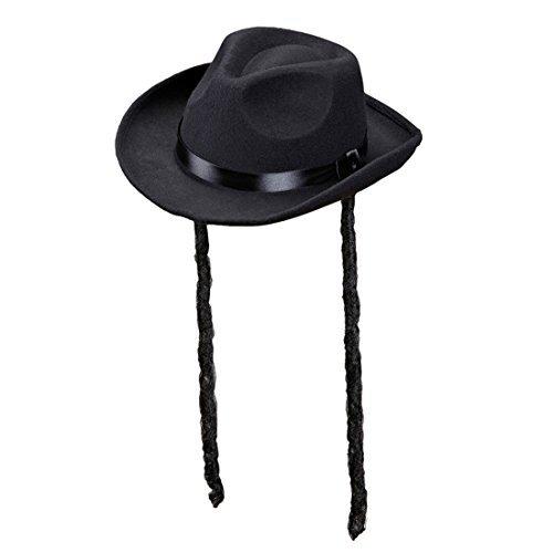 NET TOYS Jüdischer Hut mit Schläfenlocken Rabbihut mit Zöpfen Rabbi Kopfbedeckung Rabbiner Juden Hut