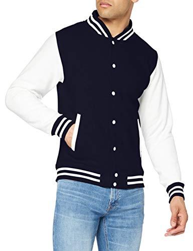 Just Hoods by AWDis Varsity Jacket Blouson, Bleu (Oxford Navy/White), Large Homme
