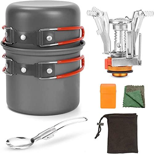 GAOHONGMEI Juego de sartenes de aluminio para camping para 1 – 2 personas, olla portátil al aire libre, estufa para pícnic, senderismo y senderismo, color rojo, talla única