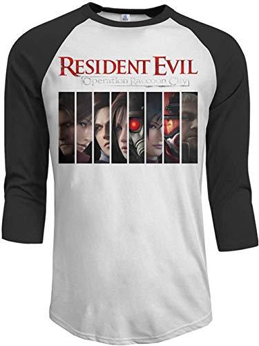 Sbvsdghfhgs Resident Evil Operation Raccoon City Men's 3/4 Sleeve Raglan Baseball Tshirts Black,Black,XX-Large