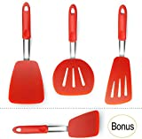 Extra Large Rubber Spatulas Silicone Heat Resistant BPA Free Spatula Set - XL Slotted Turner...