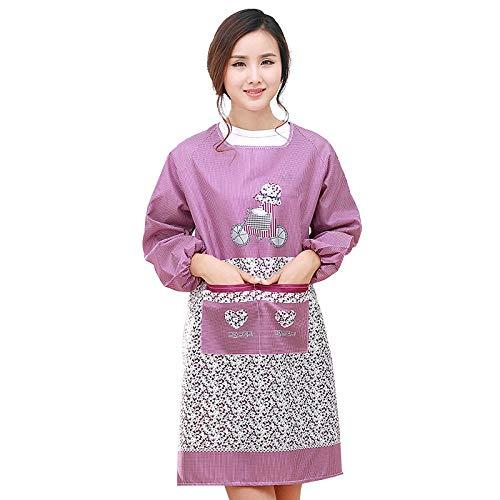 JJFU Schort met lange mouwen leuk waterdichte en oliebestendige blouses voor het huishouden voor volwassenen, het slabbetje paars vrouwen koken