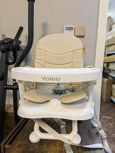 YOLEO Baby Boostersitz, hochstuhl Verstellbarer klappbarer Kinderstuhl mit Abnehmbarer Komfort Sitzkissen, Tragbarer Sitzerhöhung für Zuhause und Unterwegs