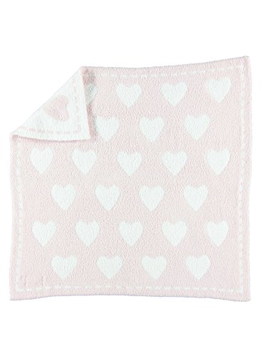 Barefoot Dreams CozyChic Dream Receiving Blanket - Pink/White Hearts