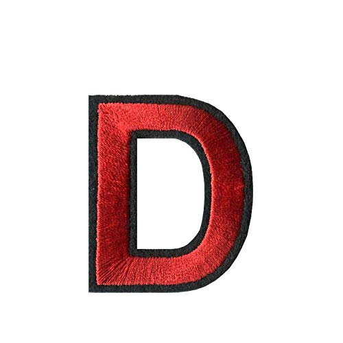 Flicken Zum Aufbügeln 45Mm Hoch 1Pc A-Z 0-9 Red Arial Englisches Alphabet Buchstaben Gemisch Gesticktes Eisen Auf Aufnähern Abzeichen Annähen Für Kleidertasche Hose-Buchstabe D.