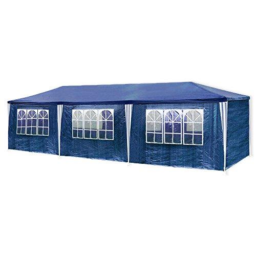 huigou HG® 3x9m Festzelt blau Pavillion Strandzelt Polyethylen Stahlrohre mit 6 Seitenteilen und 2 Eingängen Wasserdicht inkl. 6 abnehmbaren Seiten