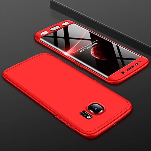 KeKeYM S6 Edge Case Hülle, Galaxy S6 Edge [Hybrid Hard PC] 360 Grad Schutz 3 in 1 Slim Hülle, Shockproof Hülle Full Body Coverage Schutz Schutzhülle für Samsung Galaxy S6 Edge - Rot