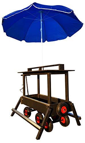 Luxus Bollerwagen mit Stehtisch, Sonnenschirm und klappbare Fußablagen, für bis zu sechs Getränkekisten geeignet, perfekt für Junggesellenabschied, Maiwanderung oder Vatertag.