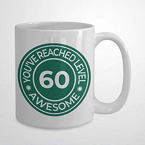 N\A Taza de café de 60 cumpleañosTaza de cerámica para Oficina y hogarTea MilkCumpleaños para Ella o para él11oz