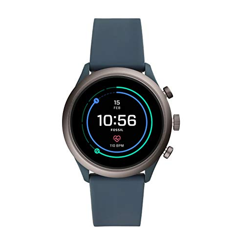 Fossil Men's Gen 4 Sport Heart Rate Metal and Silicone Touchscreen Smartwatch, Color: Grey, Blue (FTW4021)