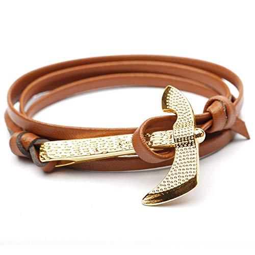 YSLDK Armbanden Bangles, Mode Heren Elegant Goud Bijl Anker Armband Survival Touw Metalen Sport Haak Eenvoudige Sfeer Donker Bruin Comfort Valentijnsdag Kerstmis Verjaardagscadeau