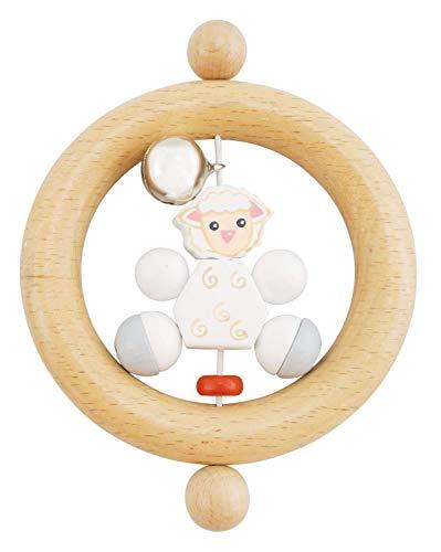 anneau BIECO 44011001 hochet Betty, hochet en bois avec Betty le mouton, saisir hochet pour les bébés de la naissance, blanc