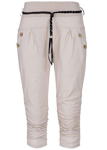 Styleboom Fashion® Damen Capri Hose Bindegürtel 2 Taschen deko Knöpfe beige, Gr:L