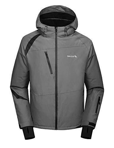 BALEAF Men's Ski Snowboard Jacket Mountain Windproof Fleece Winter Snow Coat Rain Jacket with Utility Zipper Pockets Gray/Black L